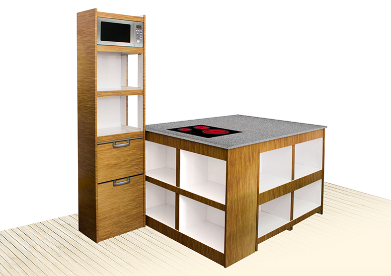 EXPOSITOR Y MESA MUEBLE CARTON ABIPLEX CARREFOUR